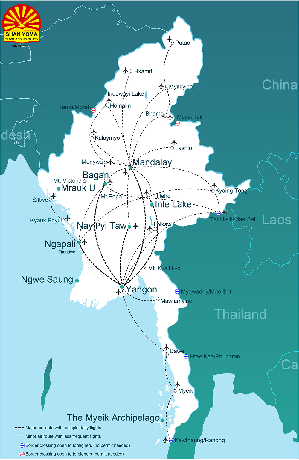 Myanmar Domestic Flight Route Map